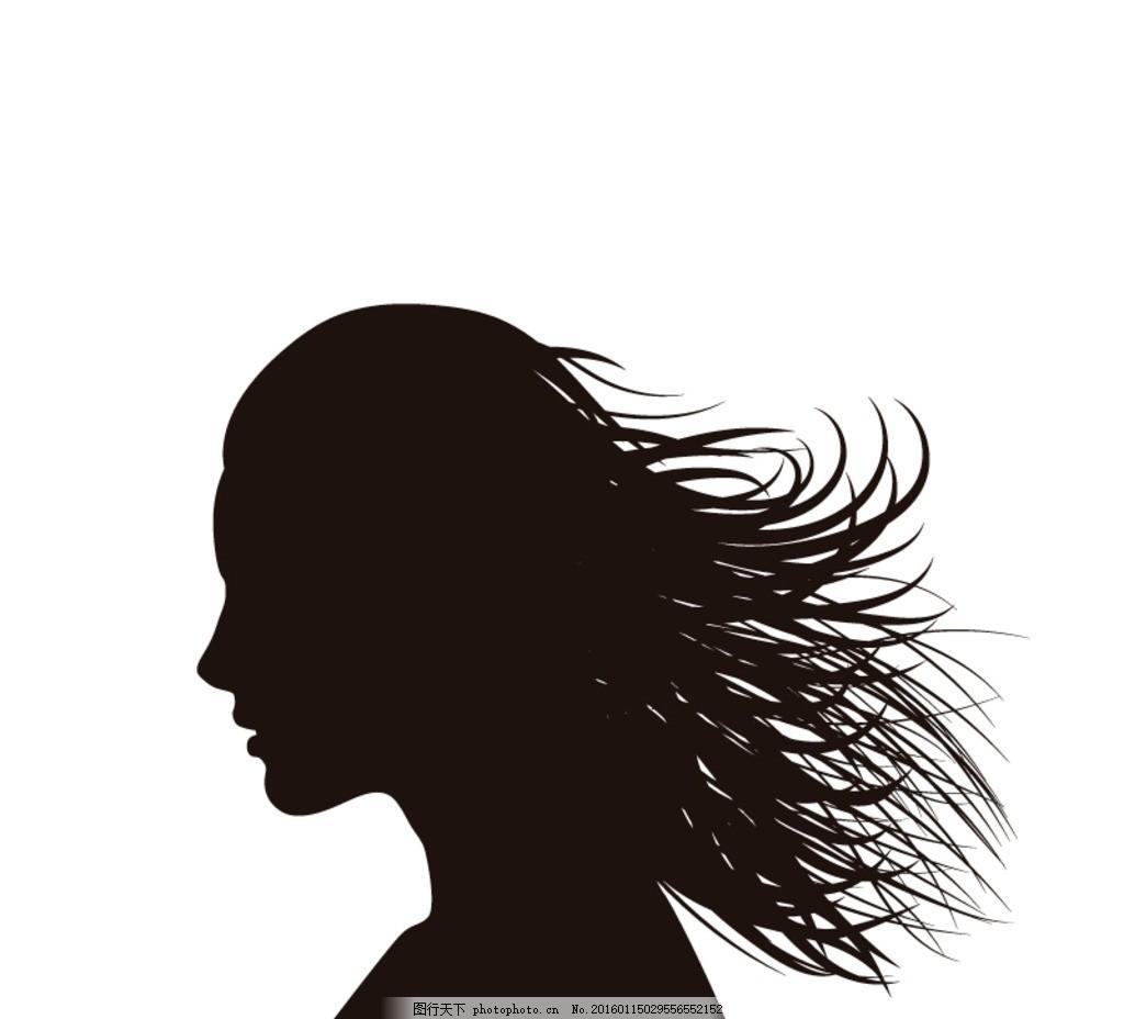 女子侧脸剪影 长发女子 侧脸 剪影 卡通 女人 女士 女子 女孩 女生