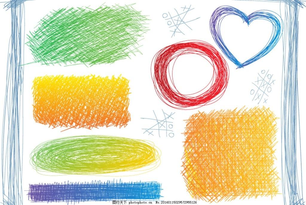 彩绘涂鸦 彩铅 线条 曲线 圆形 爱心 心型 心形 手绘 绘画