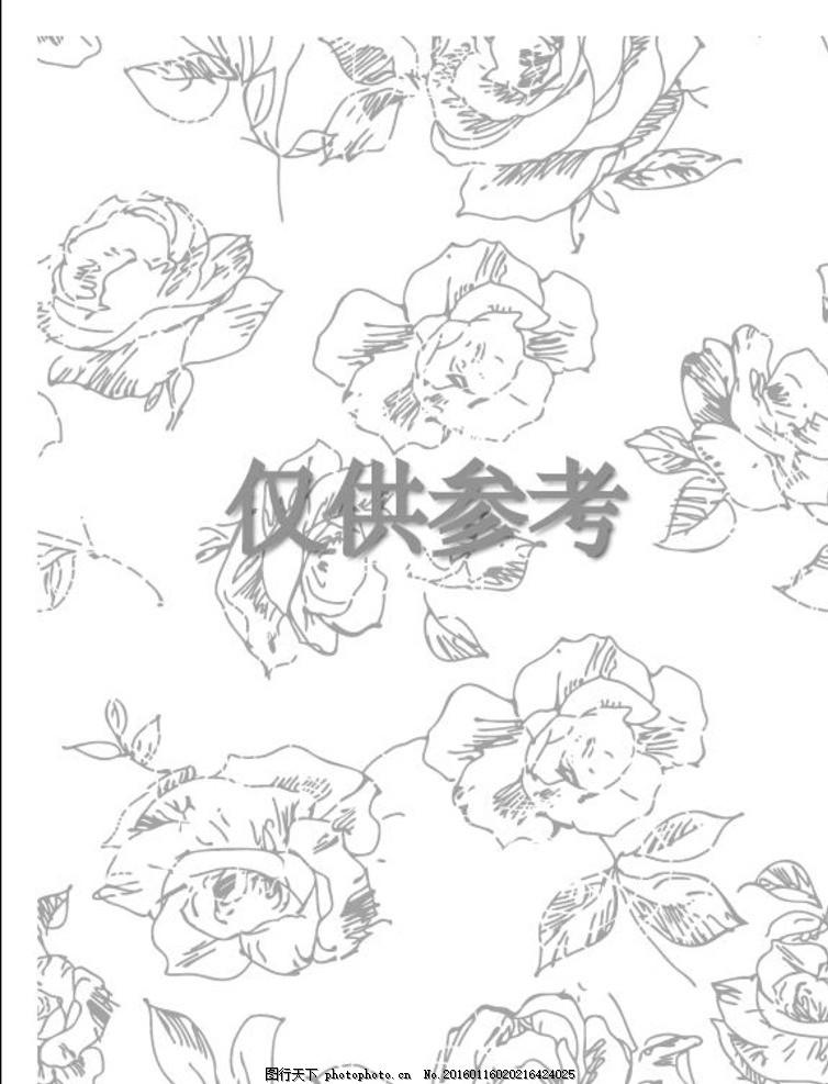 素描 线描 花 玫瑰花 黑白花 玫瑰轮廓 花朵 手绘 设计 底纹边框 背景