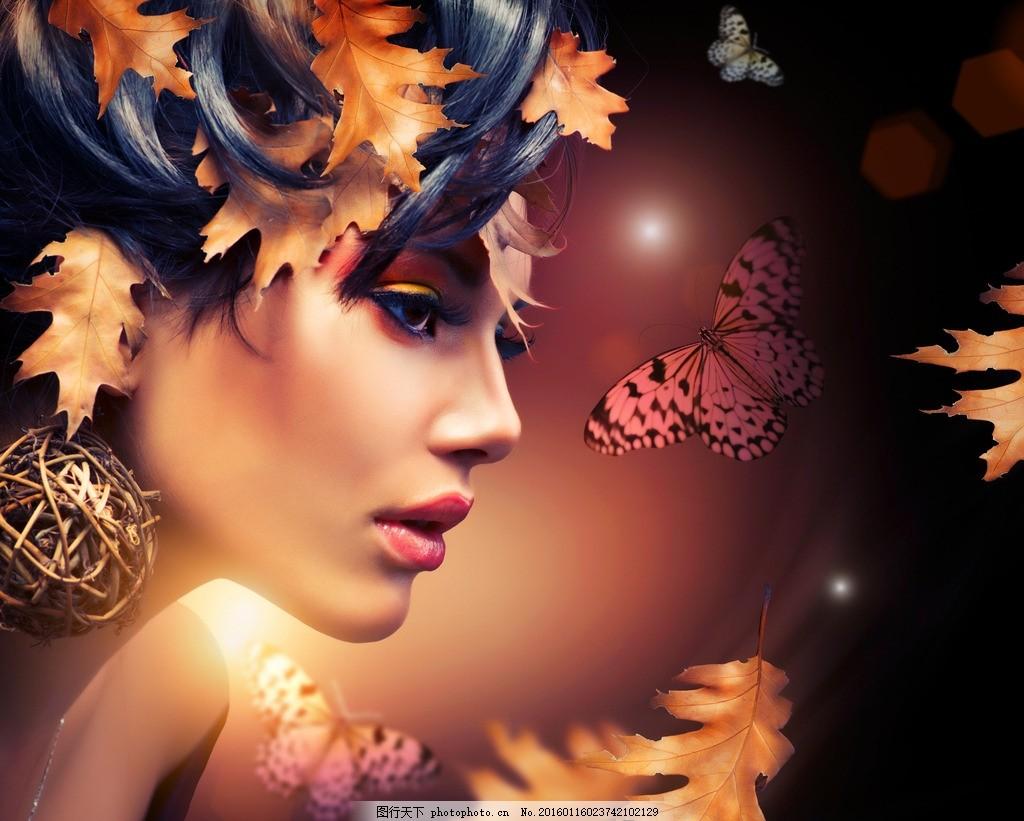 美容彩妆模特 树叶 秋天 化妆 美女 性感 精致 妆容 妆面 口红 唇彩