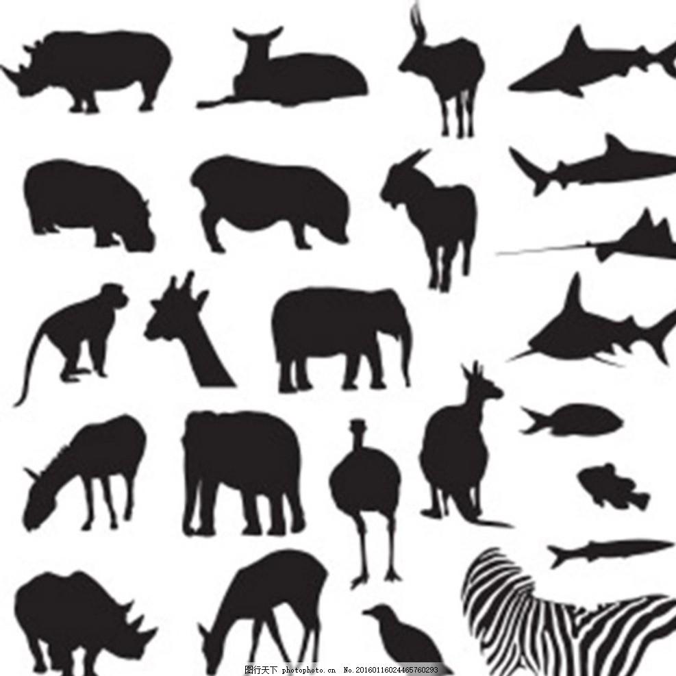 多款陆地海洋动物黑白剪影