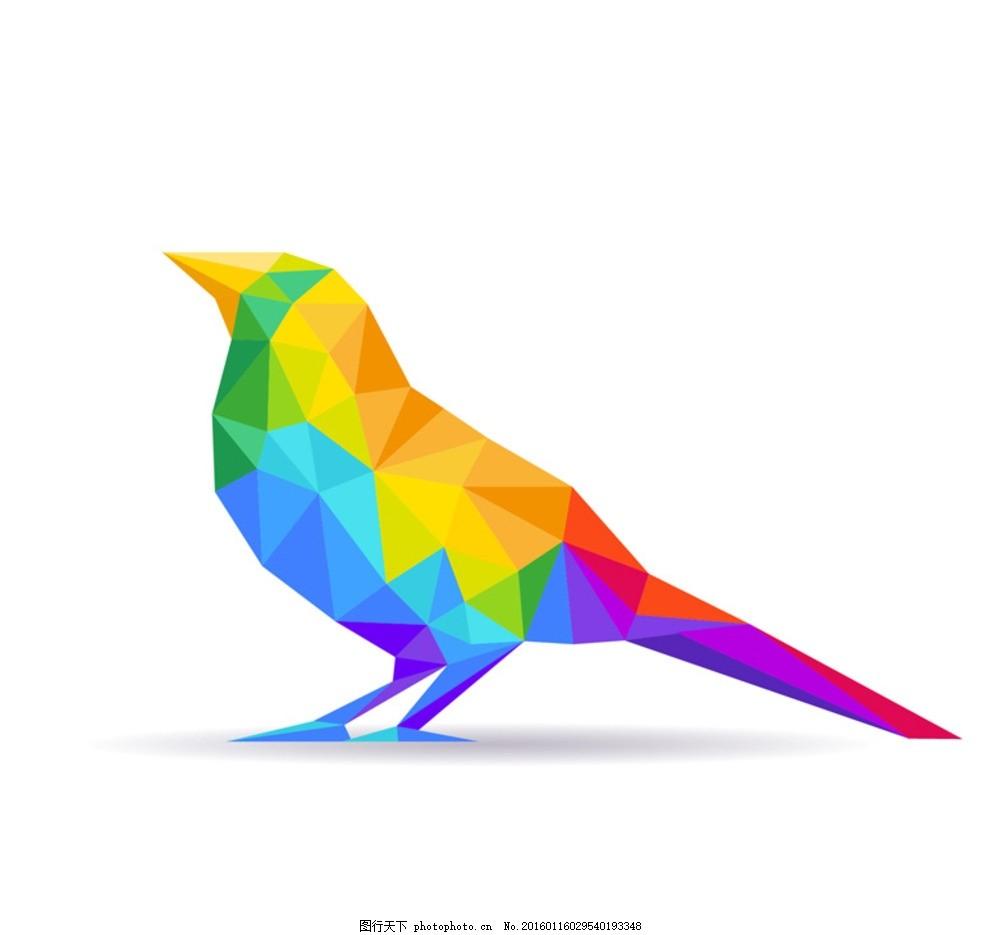 彩色几何鸟 彩色抽象鸟 彩色几何形鸟 几何图形 小鸟 标志      设计