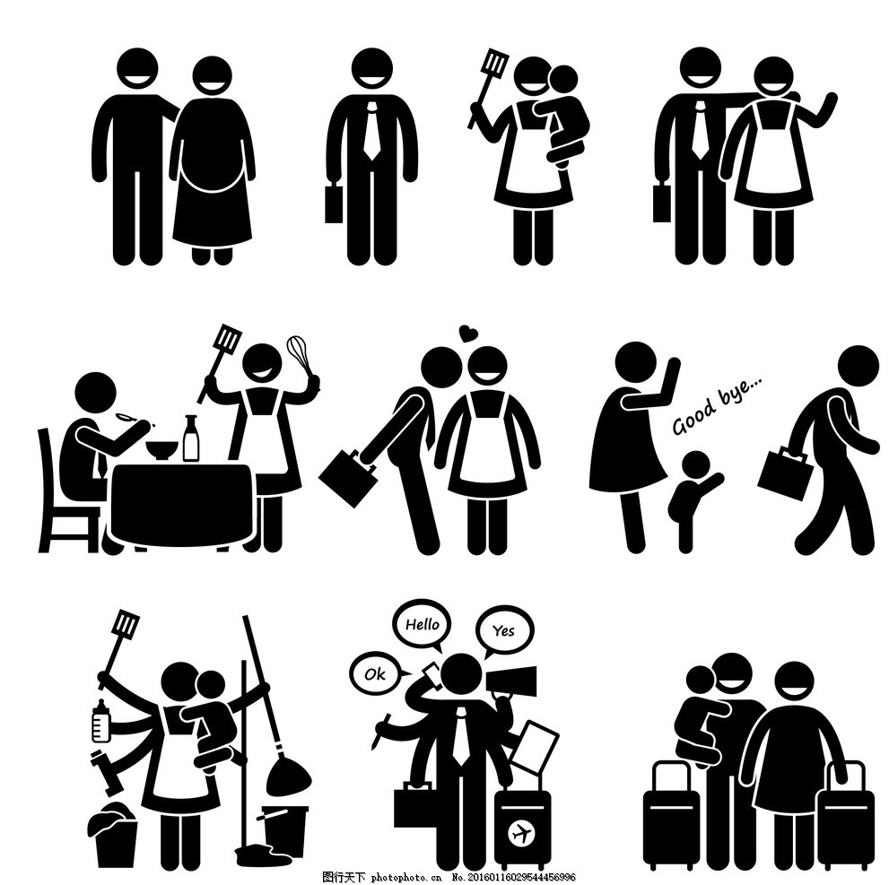 家庭生活小人 生活人物剪影 火柴人 生活小人 小人剪影 生活人物 设计