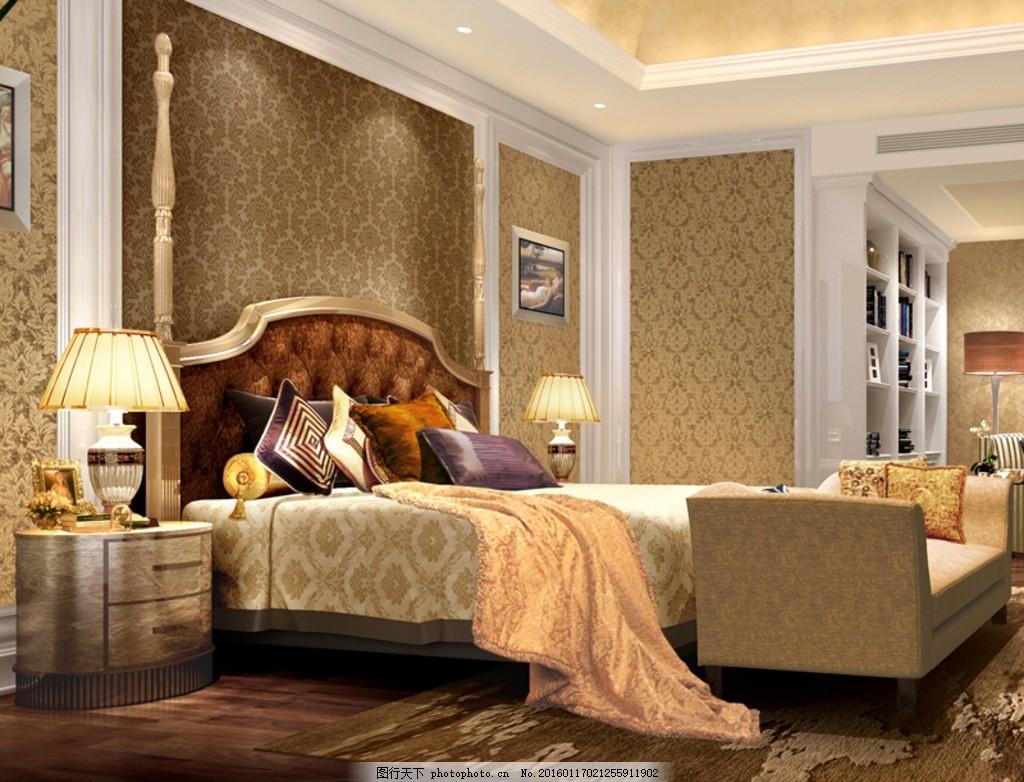 欧式卧室 3d模型 卧室模型 书柜 床 沙发 壁纸 地板 3d模型 设计 3d