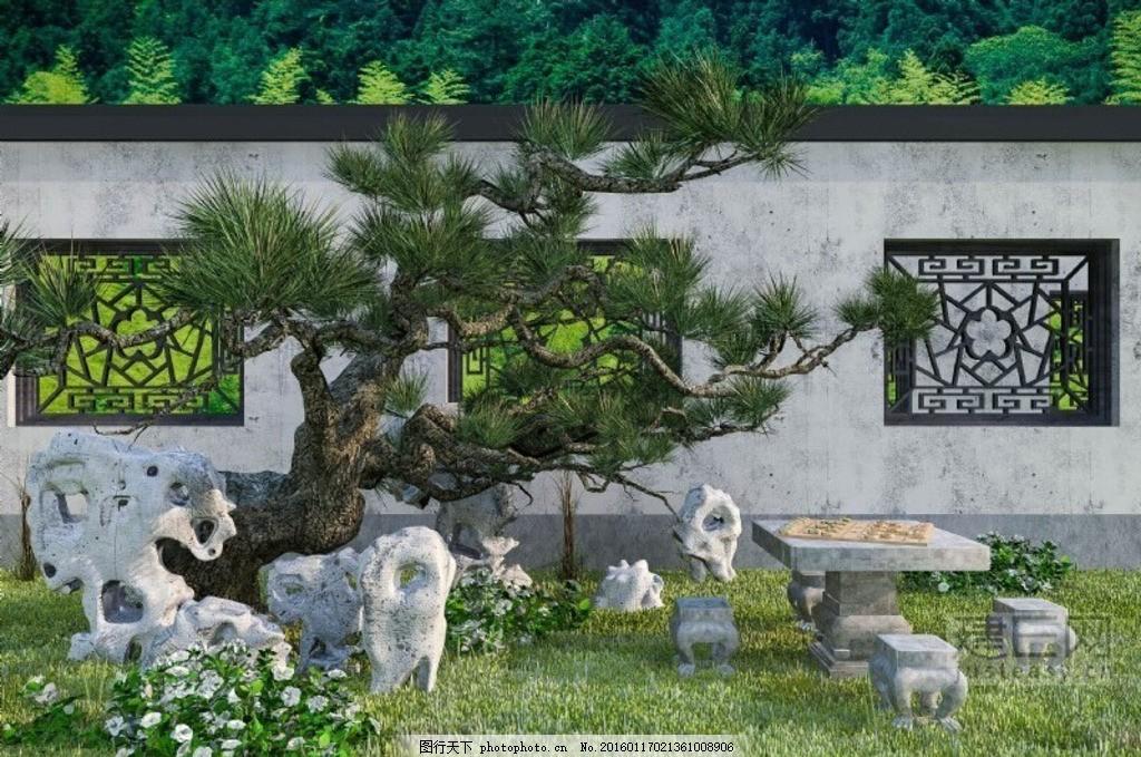 中式庭院景观 中式景观 中式围墙 中式窗 茶花 草坪 石桌 象棋图片