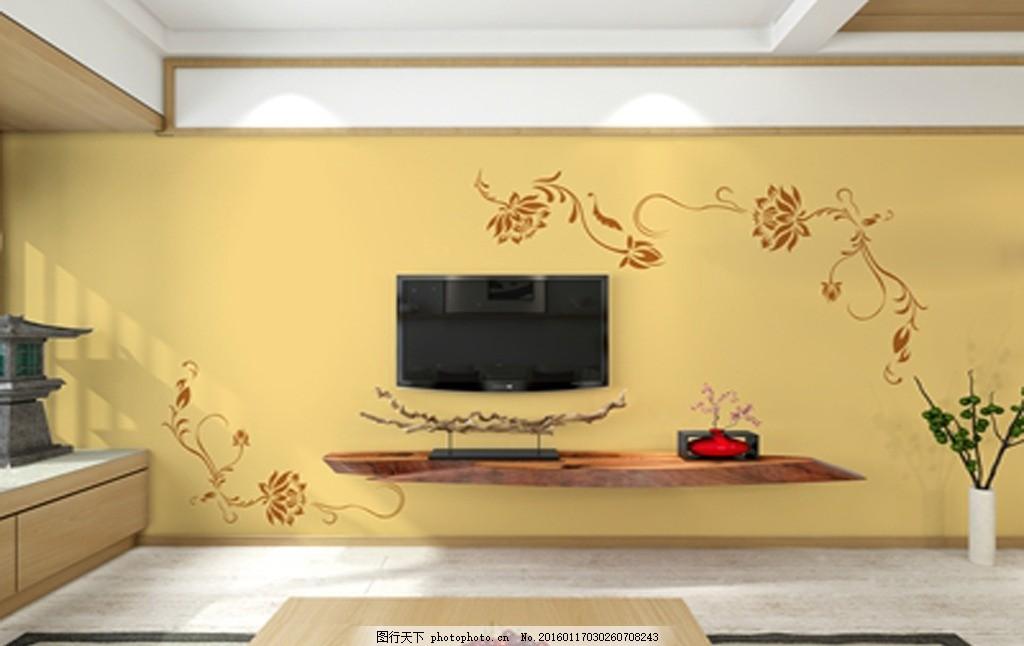 客厅电视背景墙 硅藻泥矢量图 樽 中式风格 中式 兰舍 古典 硅藻泥花