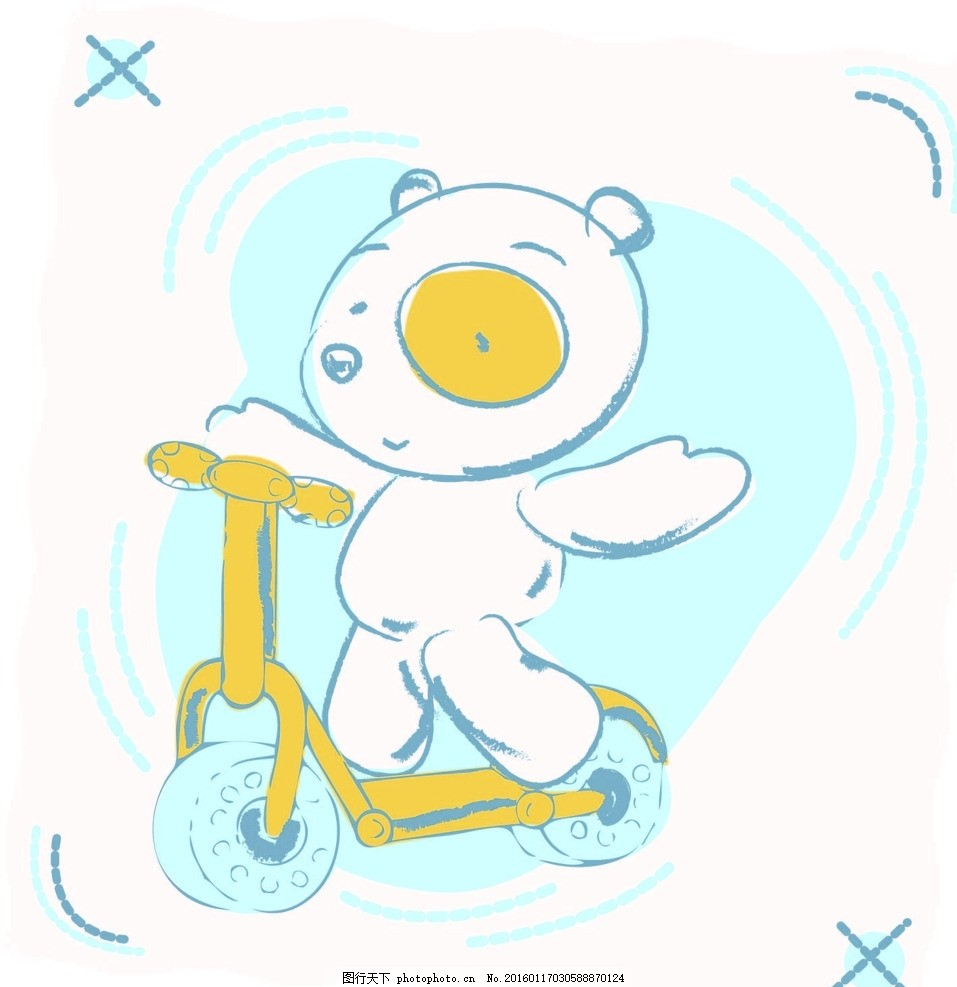 矢量卡通小熊印花图案 滑板车 数码印花 童装 服装印花 服装图案
