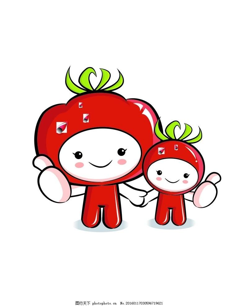 矢量卡通西红柿印花图案