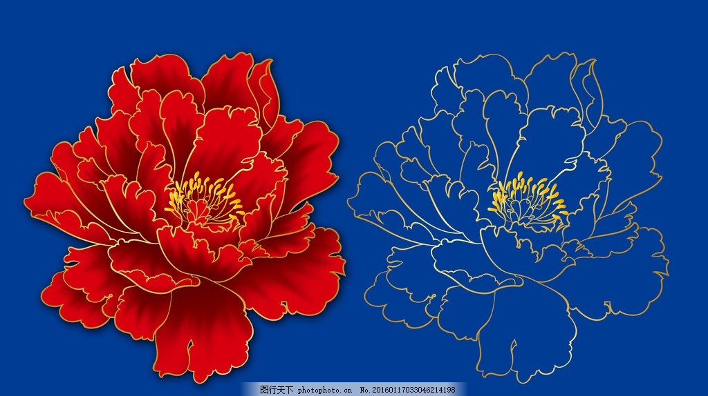 牡丹花 手绘牡丹花 牡丹 红牡丹 富贵花 花朵 花 设计 psd分层素材