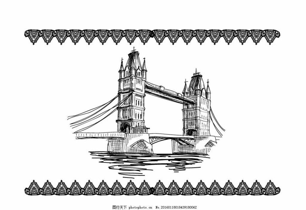 手绘塔桥 手绘 塔 桥 黑 白 设计 动漫动画 风景漫画 ai