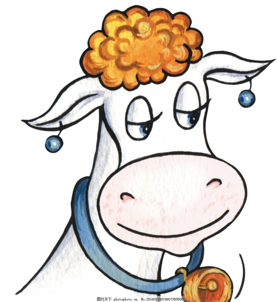 手绘卡通 卡通手绘 动物 奶牛 线稿 微笑 铃铛 头发 可上色