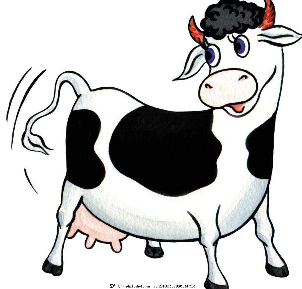 手绘卡通 卡通手绘 动物 欧洲 奶牛 线稿 卡通奶牛 微笑 跳跃