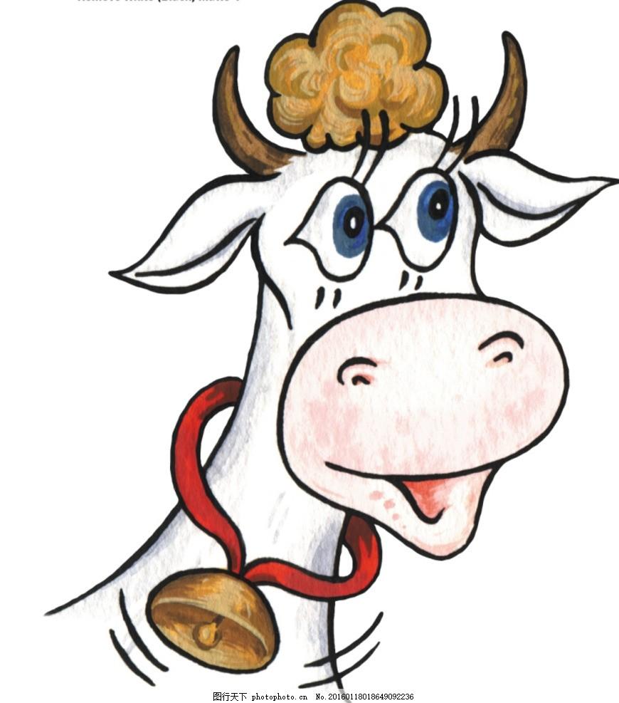 手绘卡通 卡通手绘 动物 奶牛 线稿 铃铛 头发 高兴 可上色