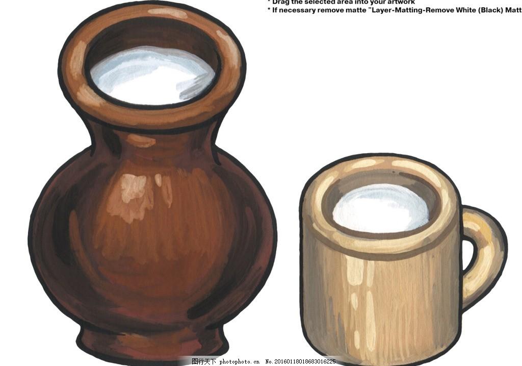 手绘卡通 卡通手绘 容器 线稿缸 杯子 水 可上色 设计 动漫动画 其他