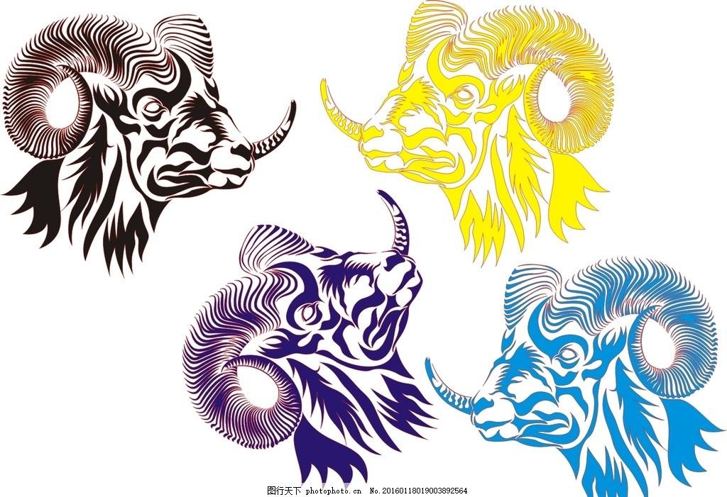 山羊头像 羊角 纹身 山羊块状图 手绘山羊 羊年