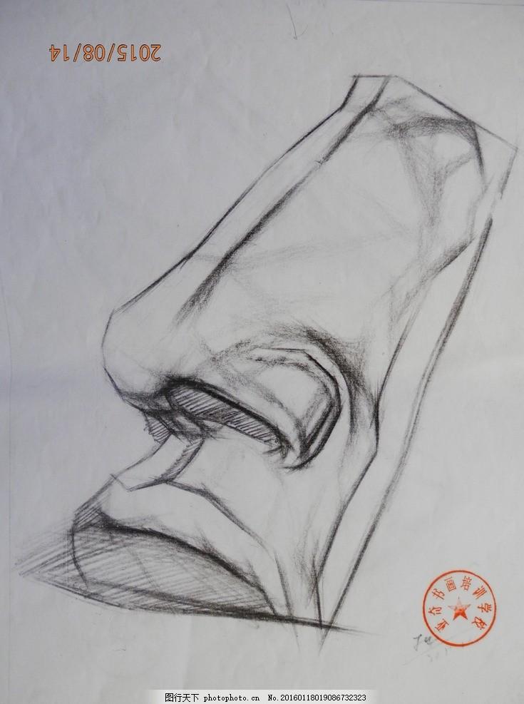 素描 静物 石膏像 结构 五官 写生 大师 鼻子 摄影 文化艺术 美术绘画