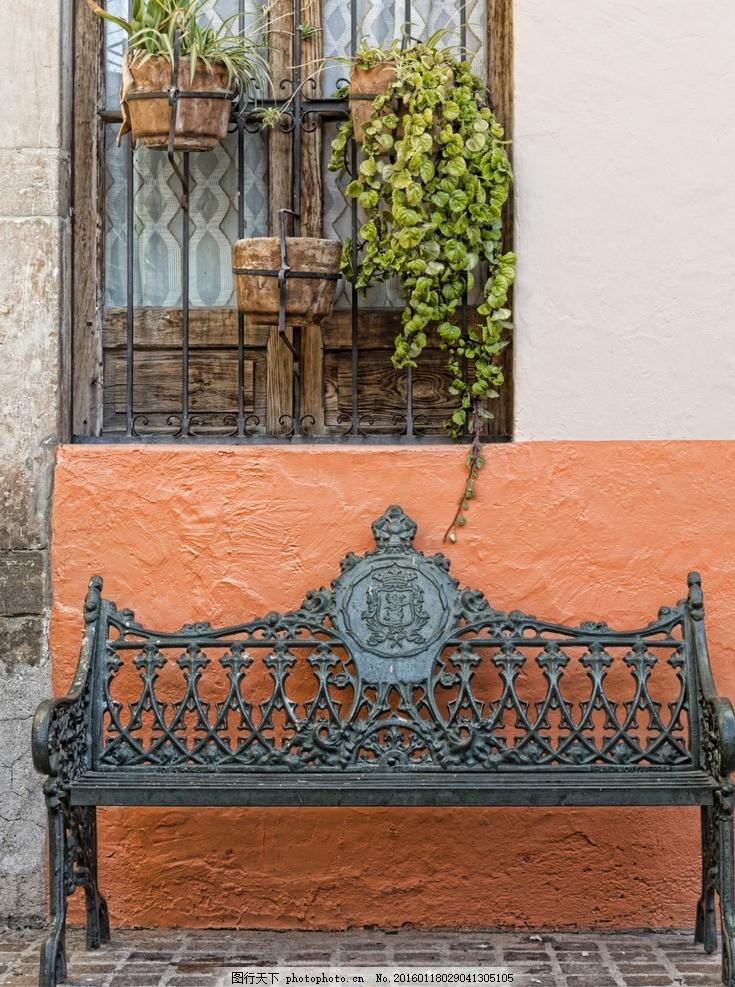 铁艺椅子 街道 窗户 绿植 场景 摄影 建筑园林