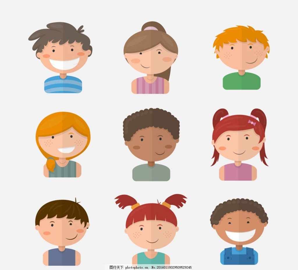 可爱儿童头像 卡通儿童头像 扁平化 小孩 孩子 孩童 幼儿