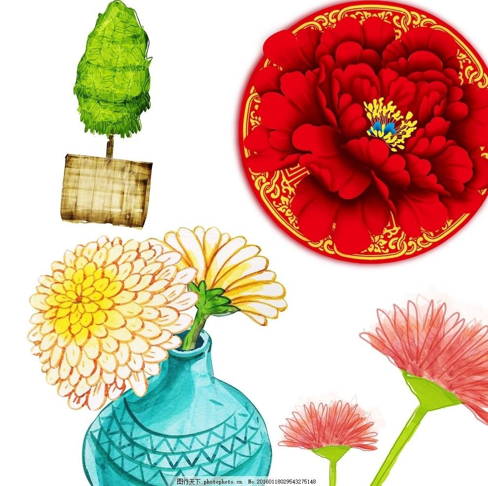 手绘插画 花瓶