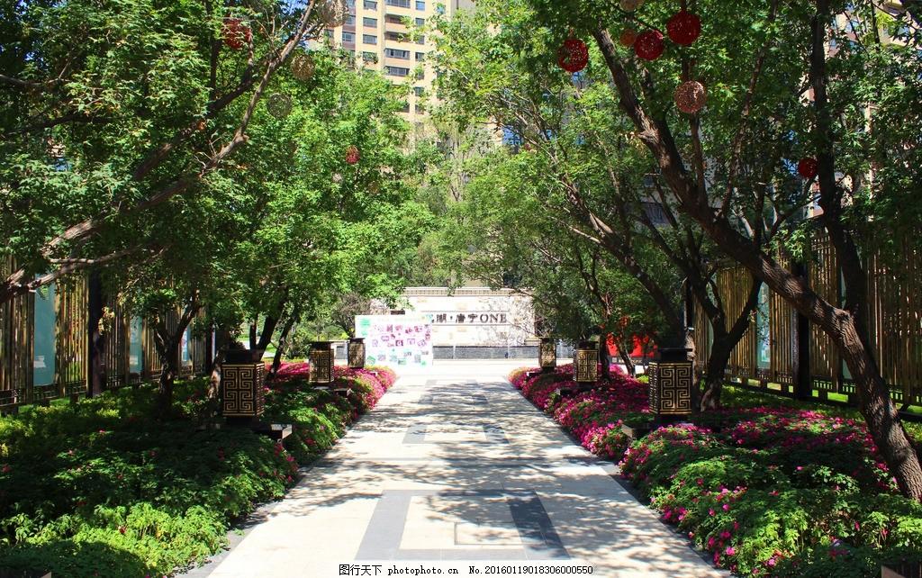 园区入口 大门 居住区 植物 景观 阵列 花卉 园林 摄影 建筑园林图片