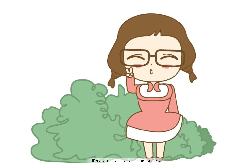 q版 卡通 小女孩 动漫 扁平化 原创素材 设计 动漫动画 动漫人物 ai