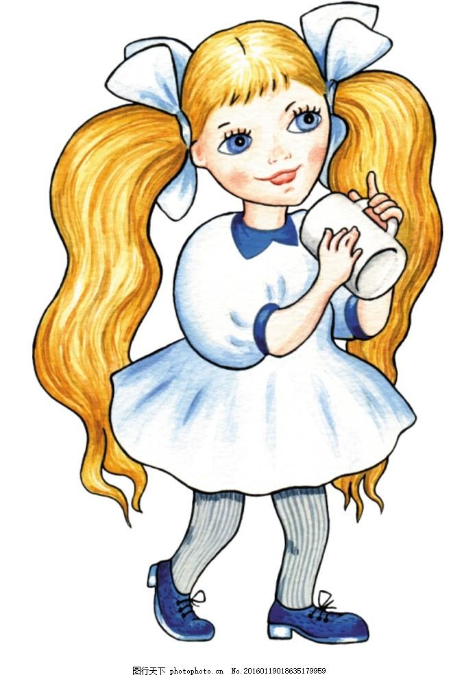 手绘卡通 卡通手绘 欧洲 小女孩 容器 线稿 杯子 可上色 动漫动画