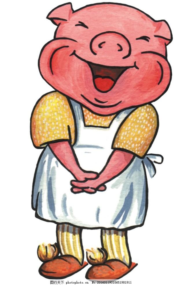 手绘卡通 卡通手绘 动物 欧洲 小猪 厨师 可爱 正面 微笑 可上色