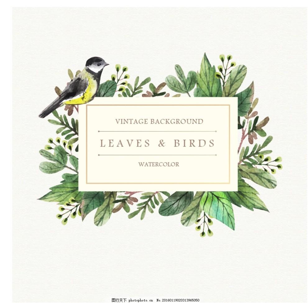 手绘自然花鸟标签背景