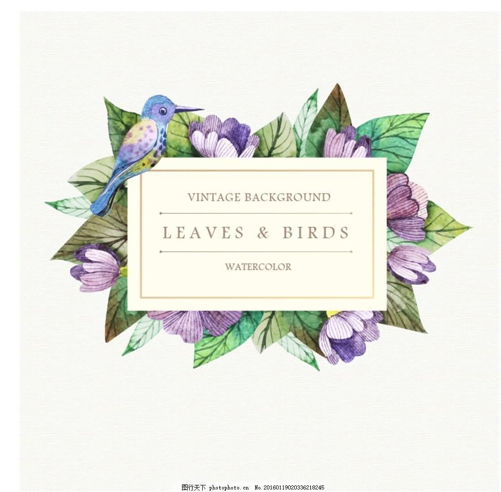 手绘水彩花鸟标签背景