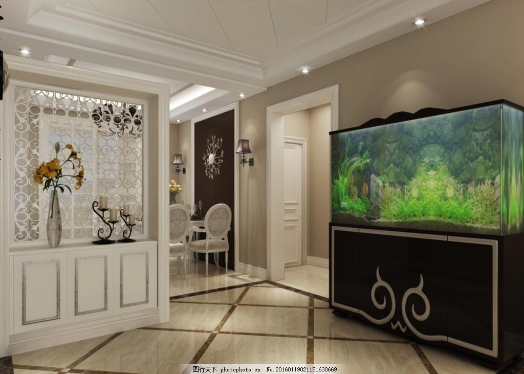 简欧客餐厅效果图 简欧客厅 欧式茶几 欧式电视柜 简欧吊灯 挂画