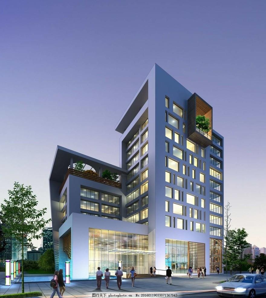 办公楼夜景透视效果图 建筑设计 表现 室外设计 建筑表现 室外 楼梯