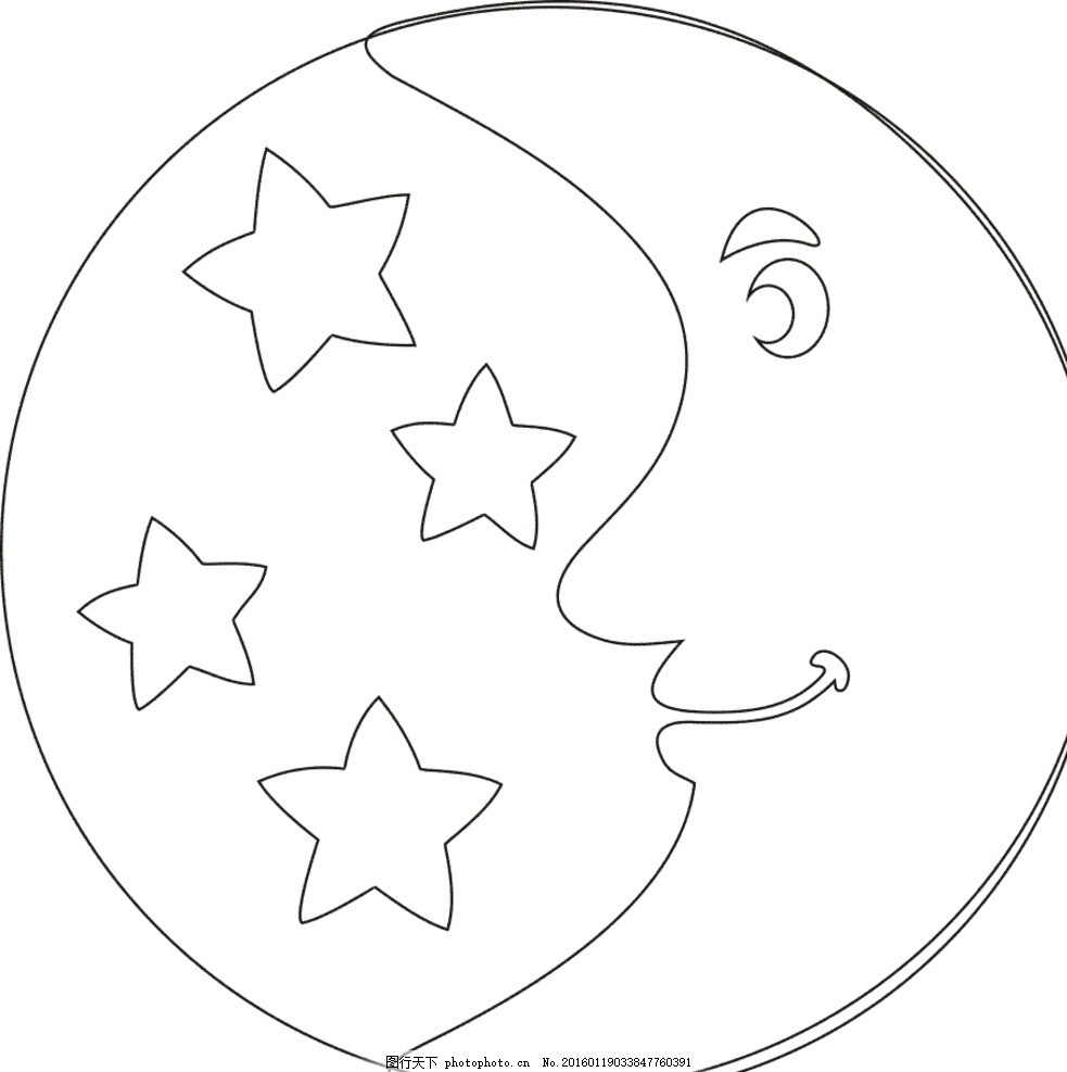 可爱的月亮图片简笔画