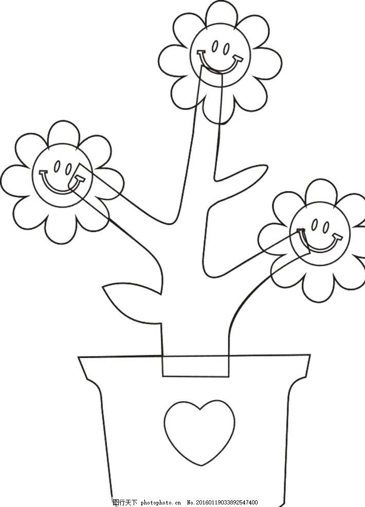 太阳花 盆景 线描 雕刻 黑白 图片素材