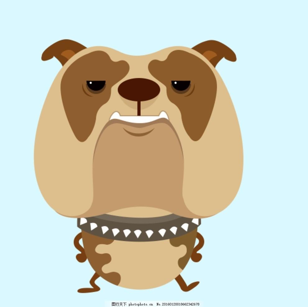 卡通动物 扁平化 斗牛 可爱 狗 动漫动画