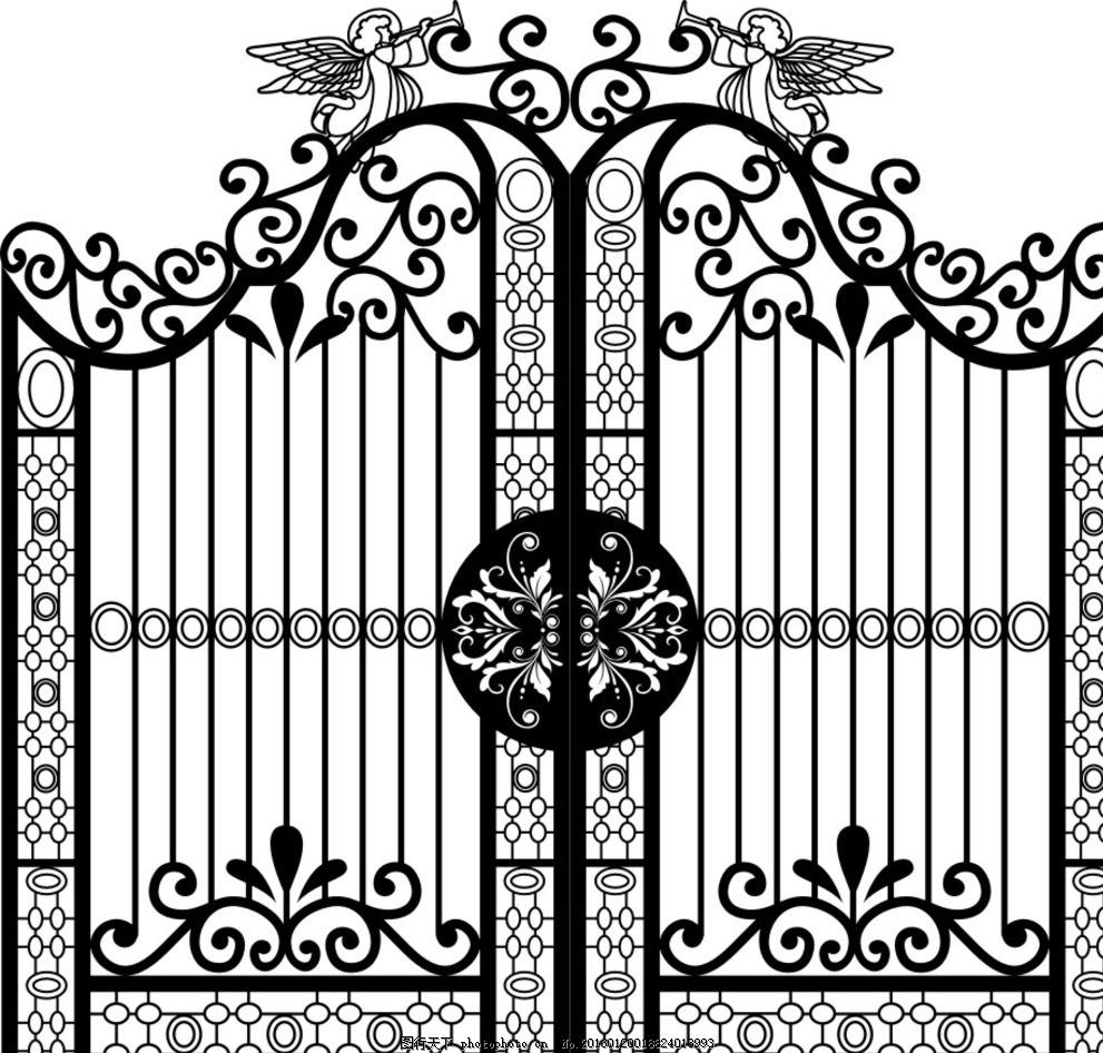 欧式铁艺门 花园创意铁门 铁艺门矢量 花纹 镂空铁艺门 设计 文化艺术