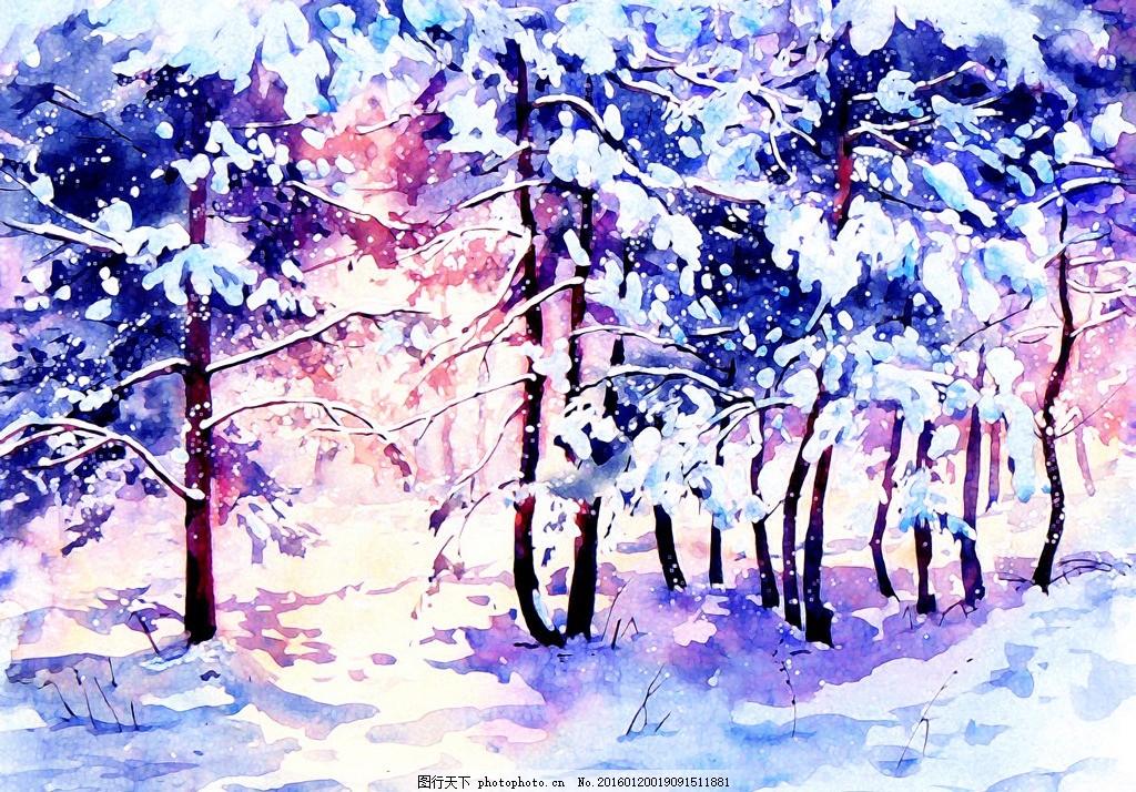 水彩 版画 壁画 水彩画 装饰画 淡彩 彩色 树林 雪景