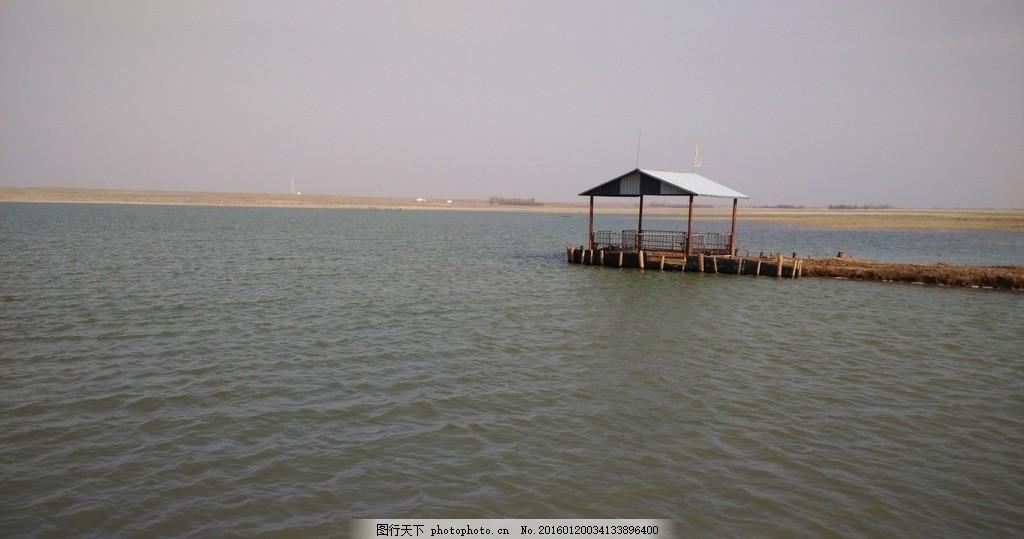 阿拉善风景 紫泥湖景观 湖泊 凉亭 流水 摄影 旅游摄影