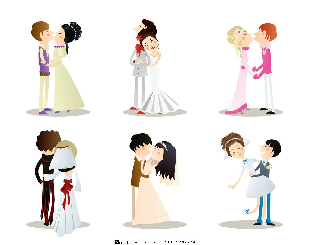 卡通情侣 卡通男女朋友 爱情 情人节 对象 卡通婚礼 新郎 新娘图片