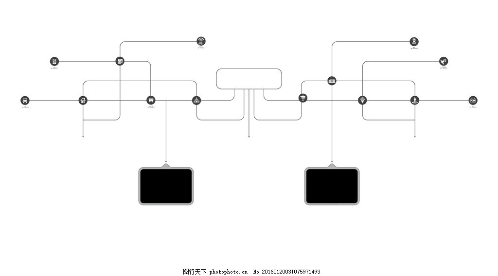 电路板黑白画展墙布展黑白图贴图