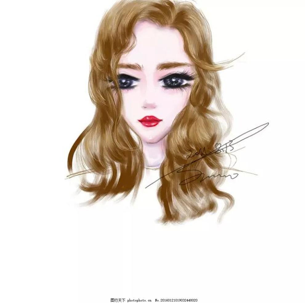 卷发少女 人物 美女 红唇 长发 金色头发 头像
