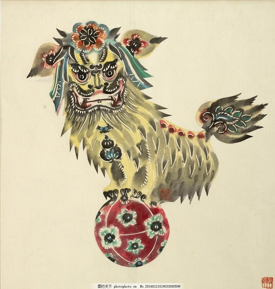 舞狮插画 狮子 绣球 中国风