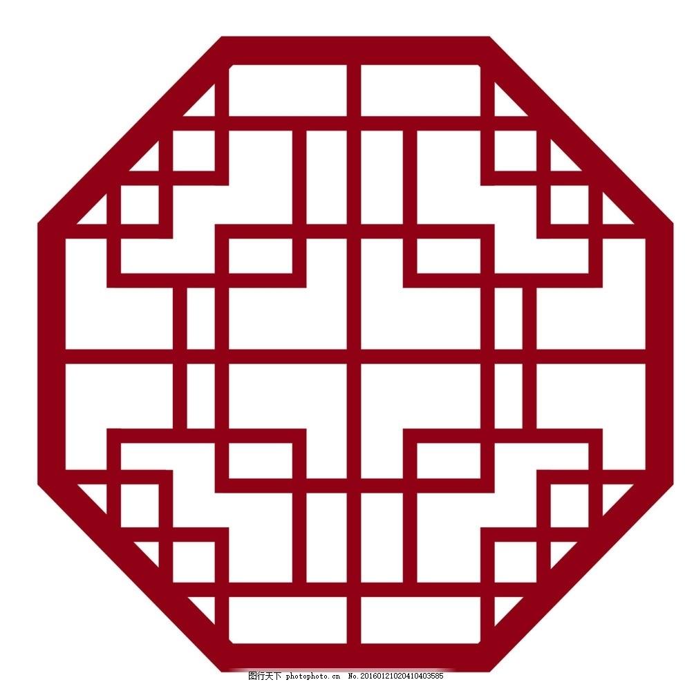 古代 八边形 窗花 矢量图 模板 图案 对称 背景素材 设计 底纹边框
