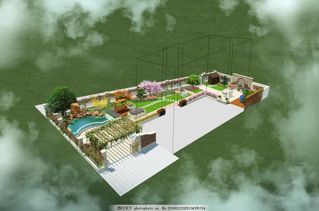 别墅庭院景观鸟瞰图