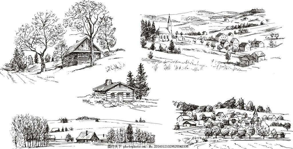 果园 手绘 乡村 烟囱 素描图