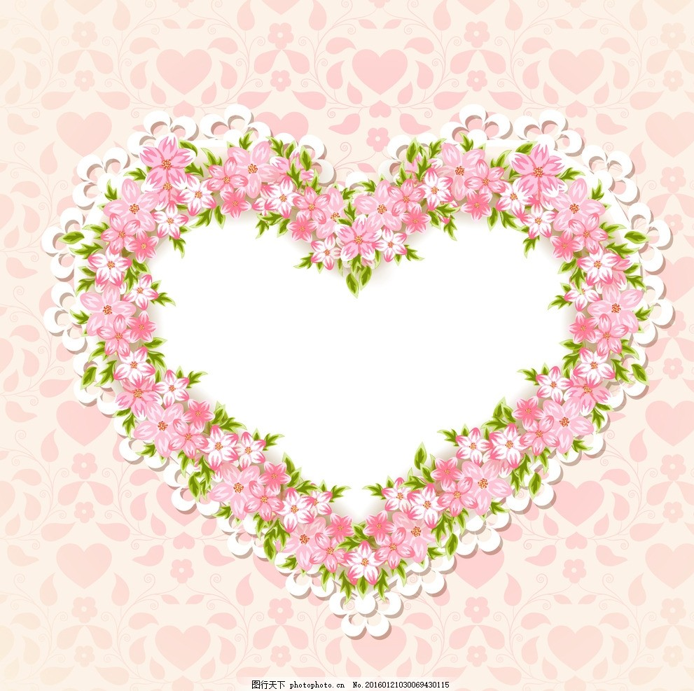 花环 爱心 浪漫 甜蜜 清新 韩式 婚礼 婚庆 矢量 花朵 边框 背景 设计