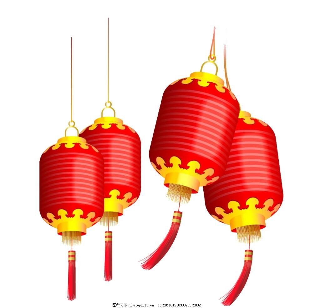 红色灯笼 过年 节日 喜庆 红灯笼 古典灯笼 中国风 可编辑源文件