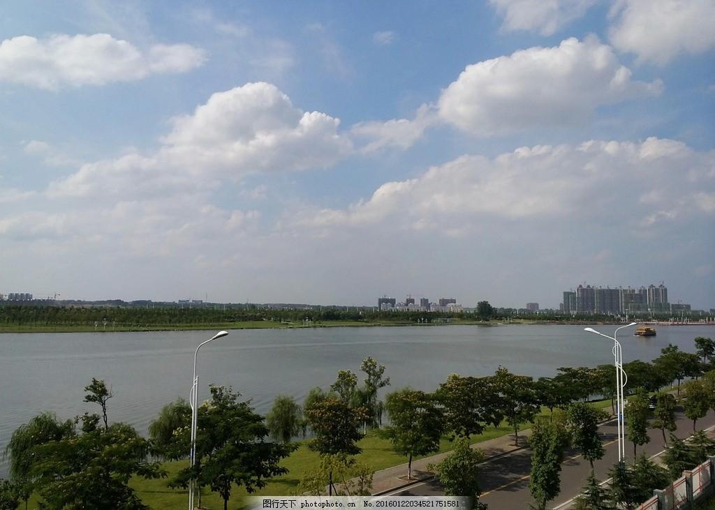 蓝天白云 安徽 六安 月亮岛 皖西学院 环岛路 摄影 自然景观 田园风光