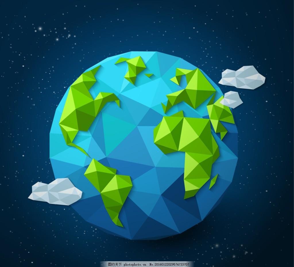 蓝色 地球 几何形 形状 多边形 云朵 宇宙 太空 星空 插画 背景 海报图片