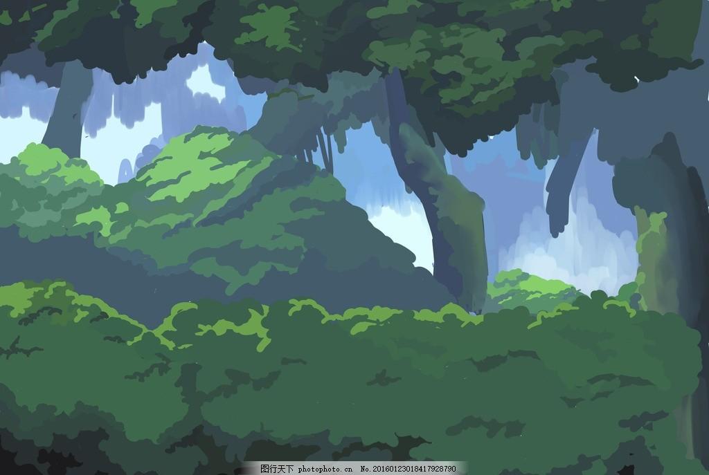 卡通森林场景动漫手绘