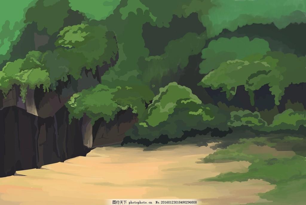 高山悬崖森林场景手绘插画 动画 动漫 场景 卡通 flash 森林 绿色